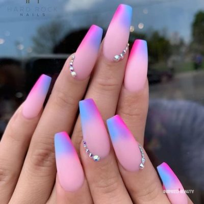 pink ombre Multicolor nails