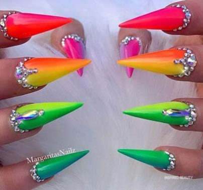 Stiletto shaped Ombre multiColor nails