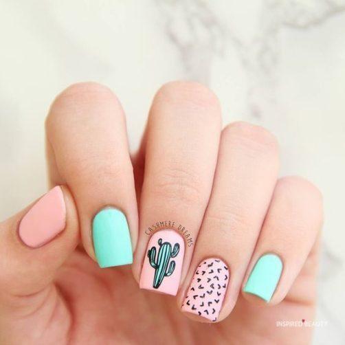simple summer acrylic nails