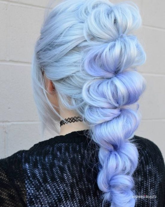 Princess hairstyle with blue hair color