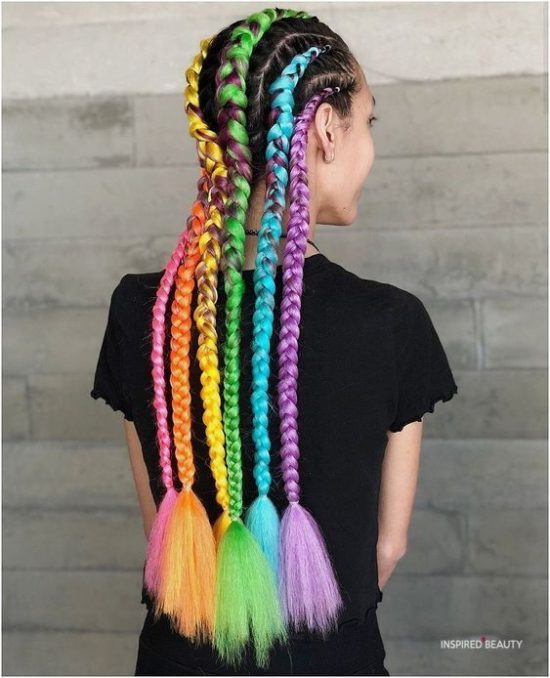 multi color Hair color with cornrows