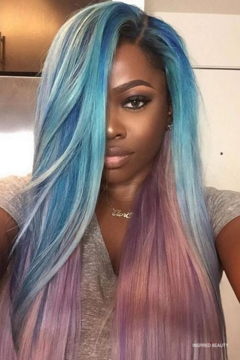 blue Hair Color for Dark Skin