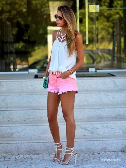 Summer Outfits with pink shorts and heels