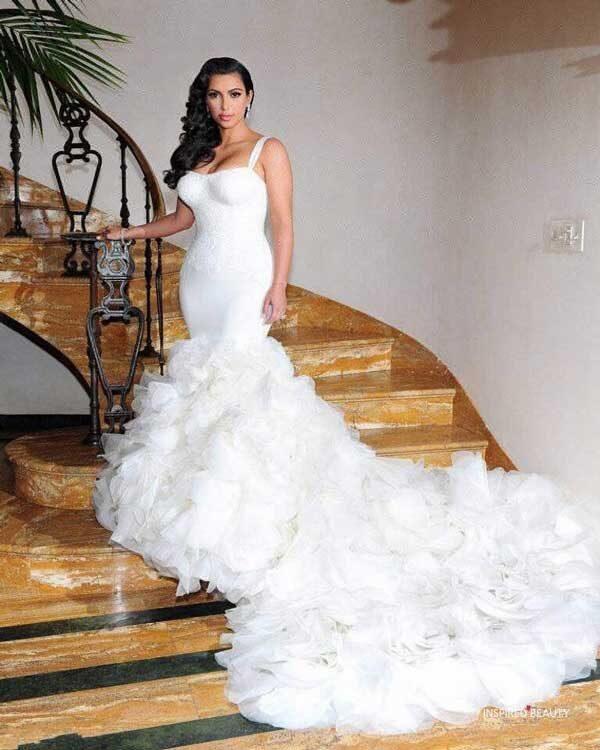 Kim-Kardashian-Wedding-Dresses-with-Spaghetti-Straps