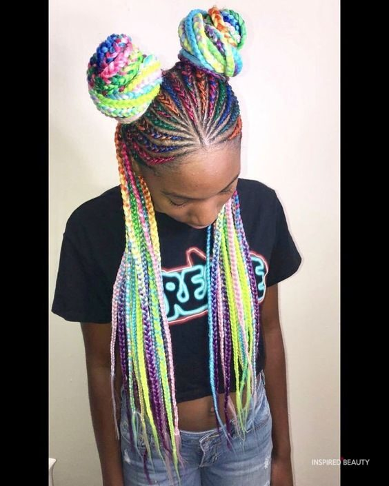 Rainbow Box braids