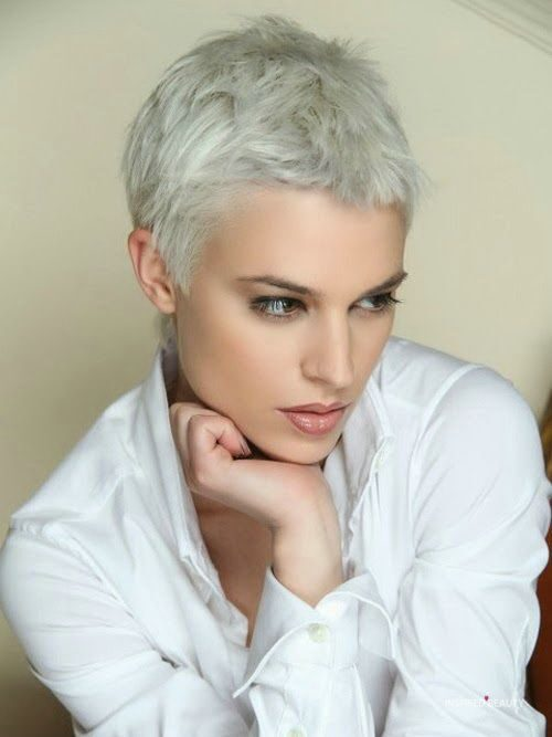 short hairstyle, Pixie cut, blonde, gray hair color,