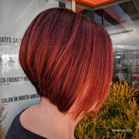 Medium Length Layered Hair Red Color Hair