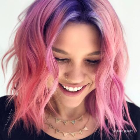 Medium Length Layered Hair pastel colors