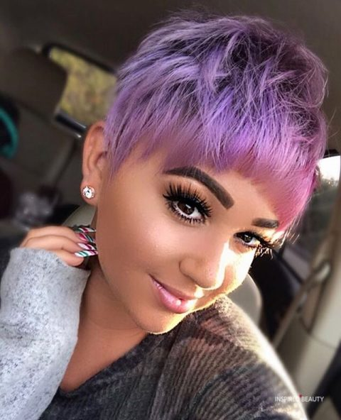 Shaved Hairstyle for women purple