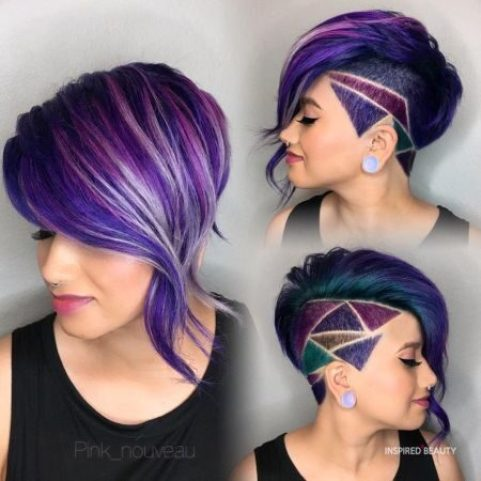 Geometric Purple Pixie Haircut for woman