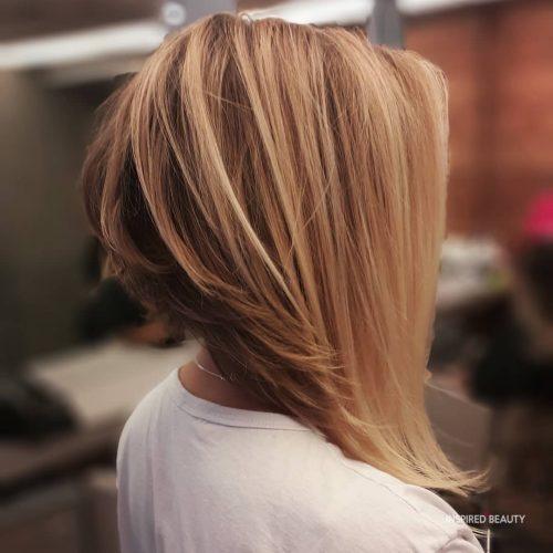 Long stacked bob hair