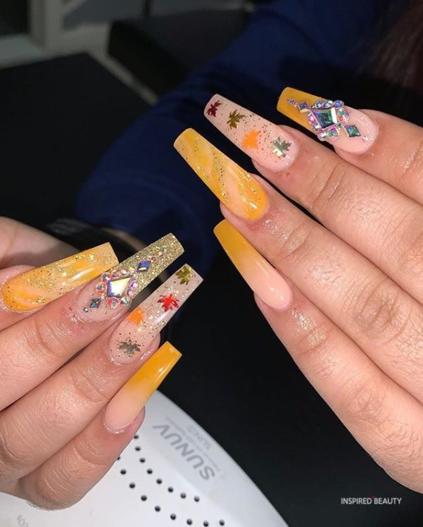 Long Coffin Nails With Rhinestones, spring nails
