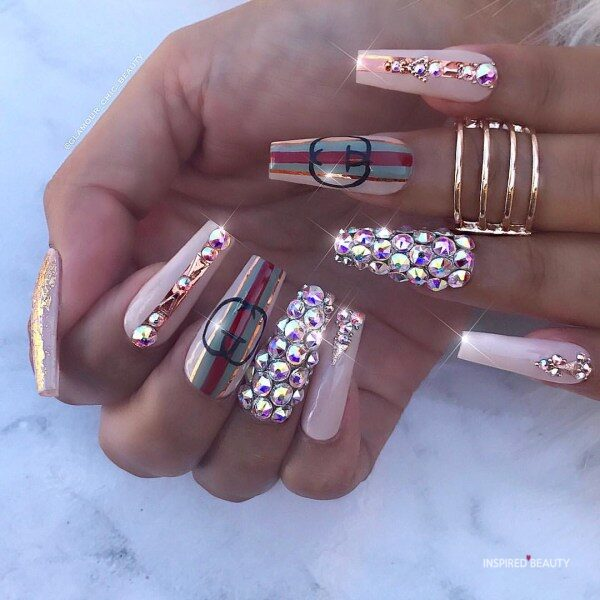 Gucci Long Coffin Nails With Rhinestones