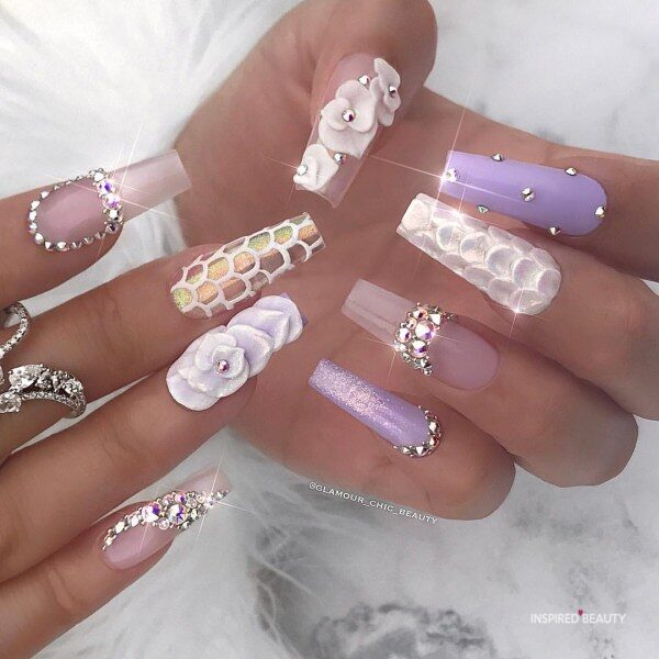 Long Coffin Nails With Rhinestones