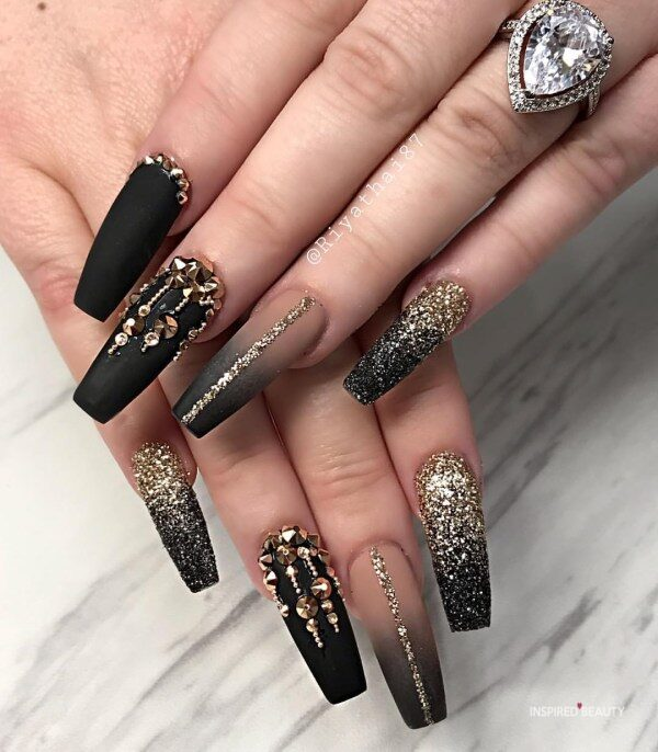 Ombre Long Coffin Nails With Rhinestones