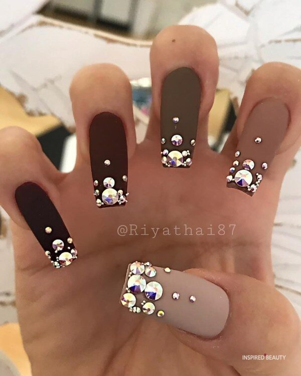 Matte Long Coffin Nails With Rhinestones