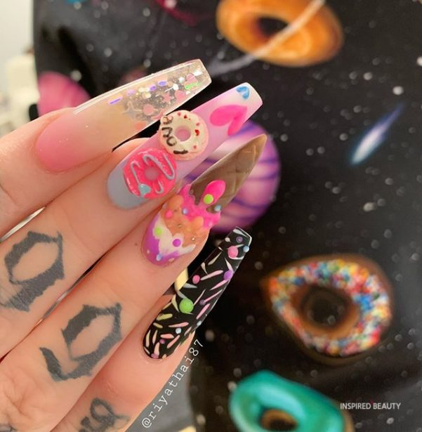 Valentine Nail,  Long Coffin Nails With Rhinestones