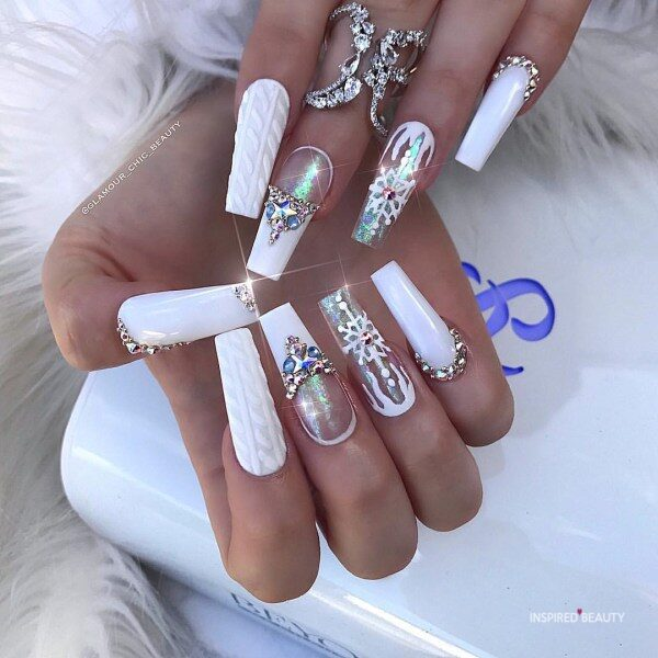 Long Coffin Nails With Rhinestones white