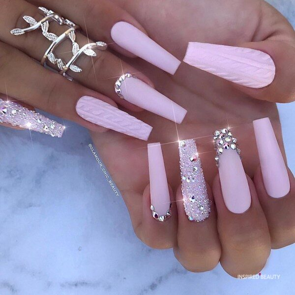 Long Coffin Nail With Rhinestones, pink matte