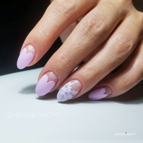 Heart and Flowers - Nails Designs