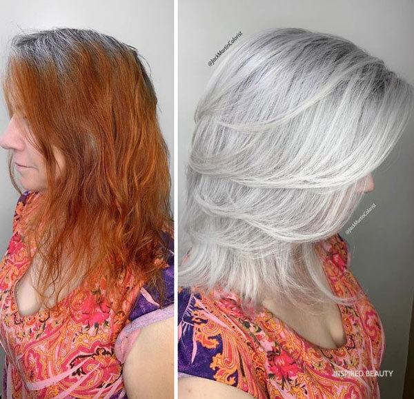 gray hair transformation