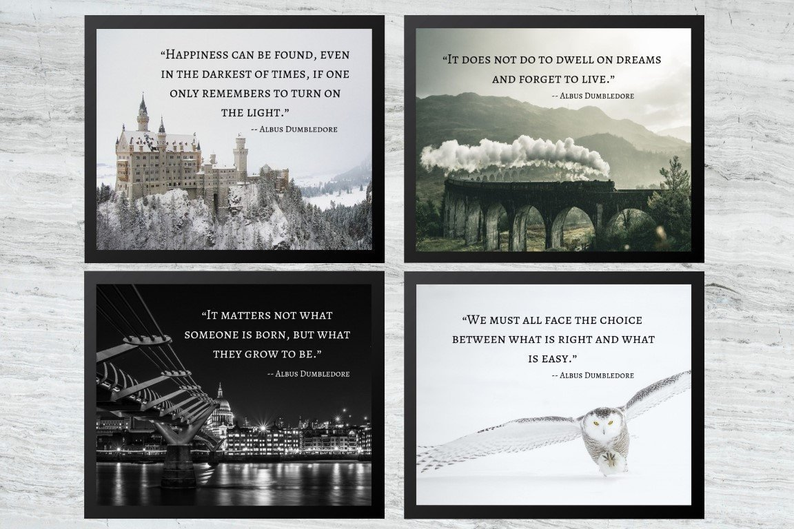 Harry Potter Prints - Wall Art - Decor - Poster - 4 Set Pack