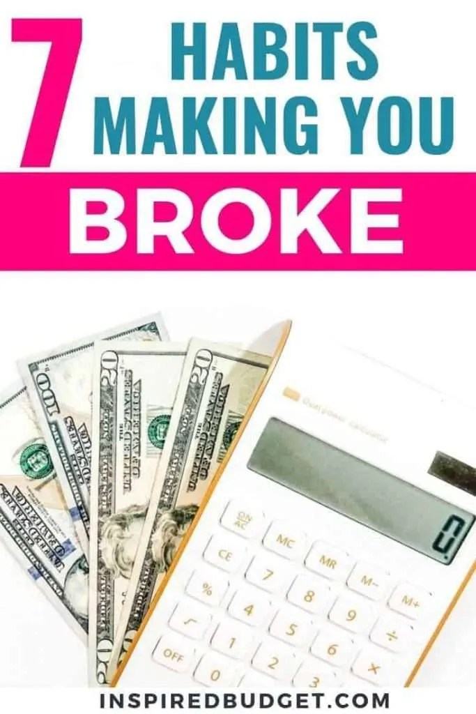 Unhealthy money habits by InspiredBudget.com