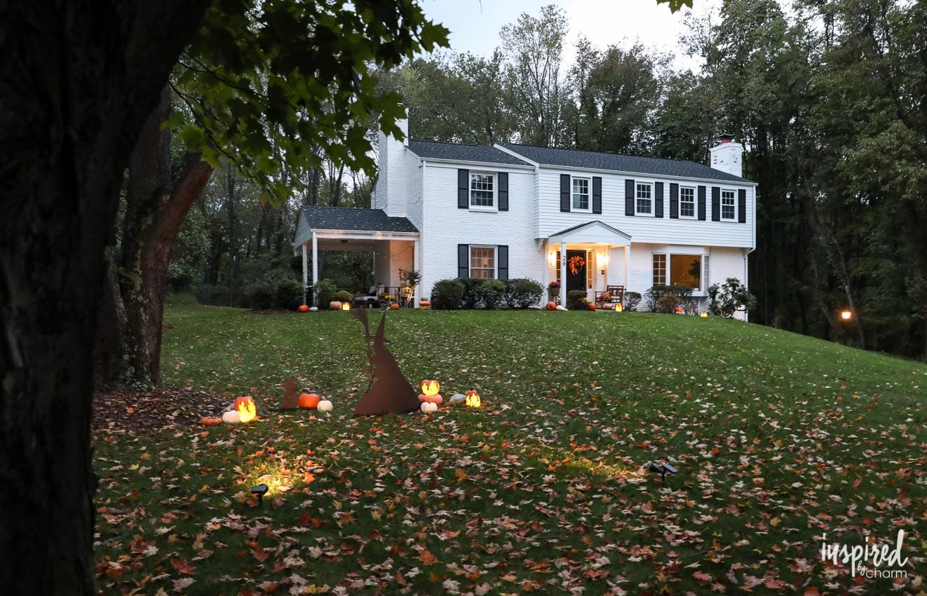 Outdoor Halloween Decorations and My Porch at Night on Patio Decorating Ideas With Lights  id=70050