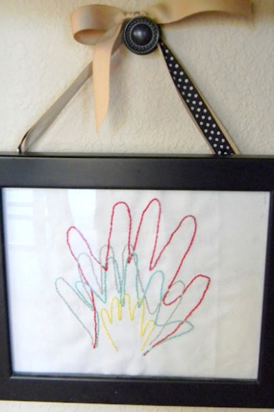 Embroidered Hand Prints Gift Idea