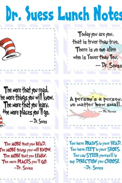 Dr. Seuss Lunch Notes