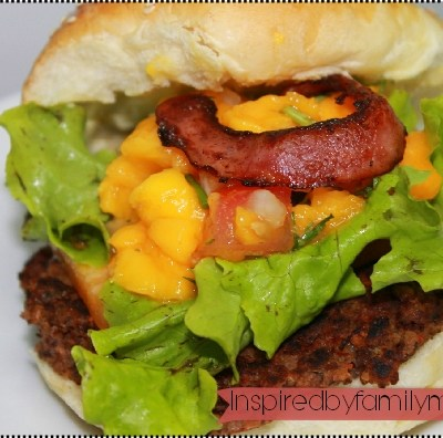 Chipotle Black Bean Bacon Burgers with Mango Salsa