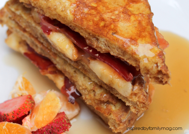 peanut butter, banana and bacon french toast sandwich