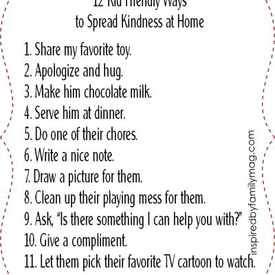 Kid Friendly Ways to Spread Kindness at Home {free printable}