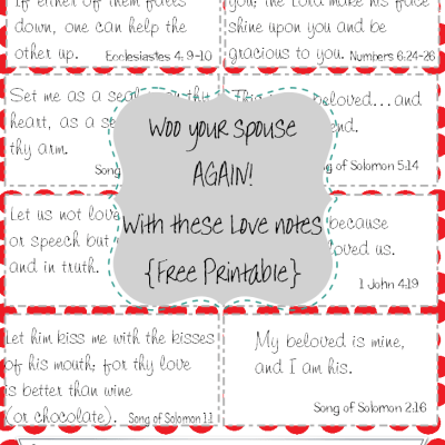 Free Printable: Valentine's Day Love Notes {Scripture Based}