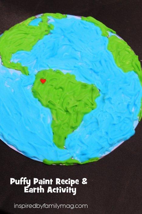 Earth Day Activity Puffy Paint Recipe Earth Art