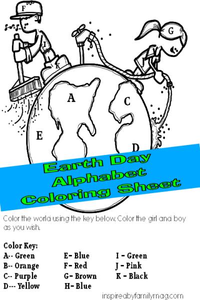 Preschooler Activity: Earth Day Alphabet Coloring Sheet
