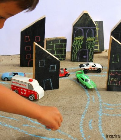 DIY Chalkboard Wooden Blocks City