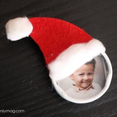 Bottle Cap Christmas Ornament Kid Craft