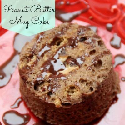 One Minute Chocolate Peanut Butter Mug Cake