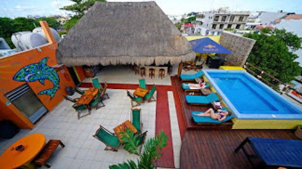 A drone view of the Pool in Hostel 3B in Playa Del Carmen, Mexico