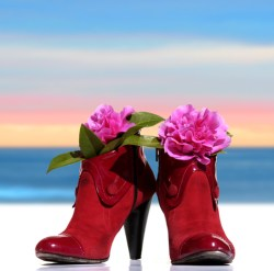 red shoes of a woman model back whit flowers on sky background