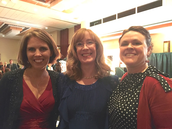 Shannon Marchese edited the novella collection Where Treetops Glisten. Sarah Sundin's novella in that book was a finalist for the Carol Award. It was so fun to enjoy the Gala with my co-author and editor! Two great ladies.