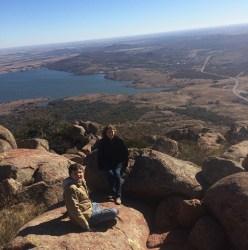 My son and I on top of Mount Scott. Wichita Mountains, Oklahoma.