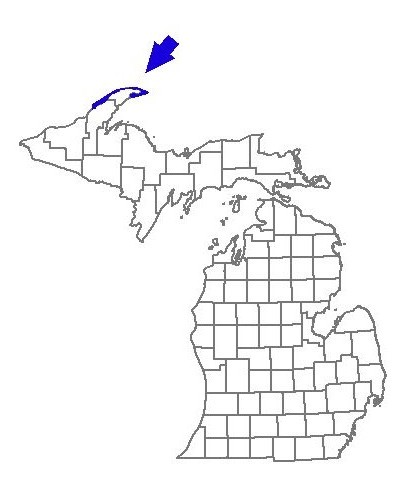 The outline of blue is the Keweenau Peninsula (part of Michigan). The arrow is pointing to approximately where Eagle Harbor is located.