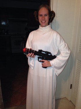Dressed as Princess Leia
