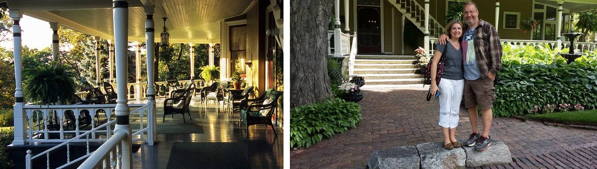 Left: Dreamy porch. Right: Brother & Sister-in-law on the carriage step.