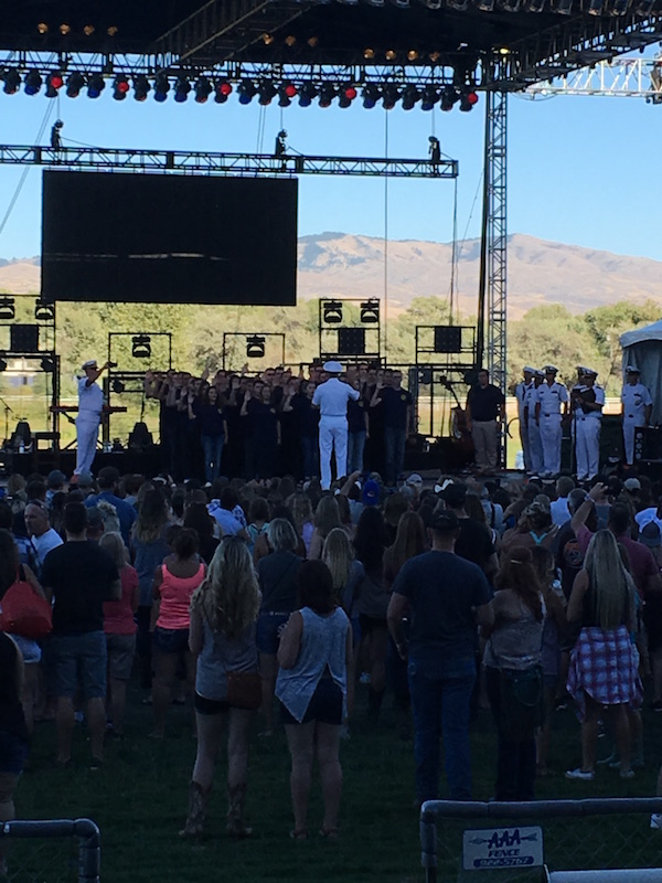 This group of recruits were sworn into the Navy in front of the crowd. Awesome!