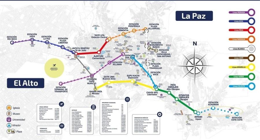 la paz cable car map