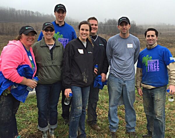 enterprise volunteers plant trees in flight 93 memorial park, from enterprise