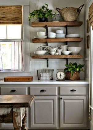 70+ Amazing Farmhouse Gray Kitchen Cabinet Design Ideas 68